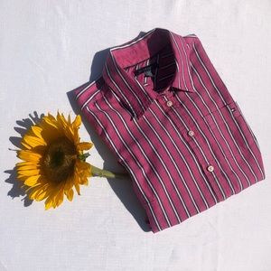 3$20 Pink Striped Button Up Tommy Shirt Size SP